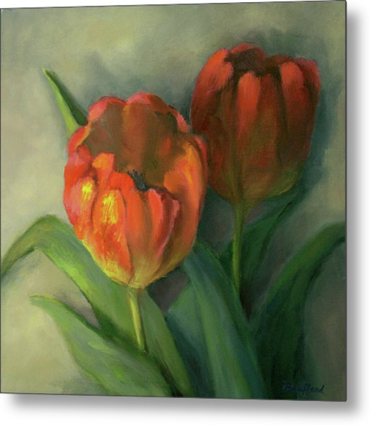 Two Red Tulips Metal Print