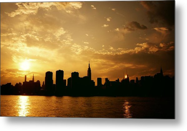 Two Suns - The New York City Skyline In Silhouette At Sunset Metal Print