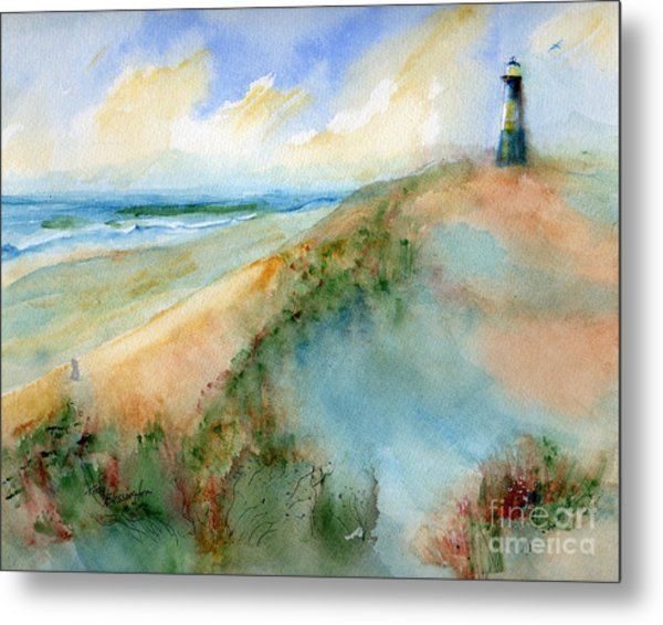 Tybee Dunes And Lighthouse Metal Print