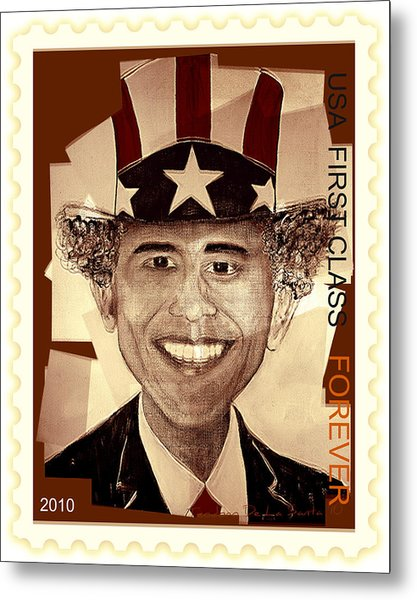 Uncle Bam  Postage Stamp Metal Print by Teodoro De La Santa