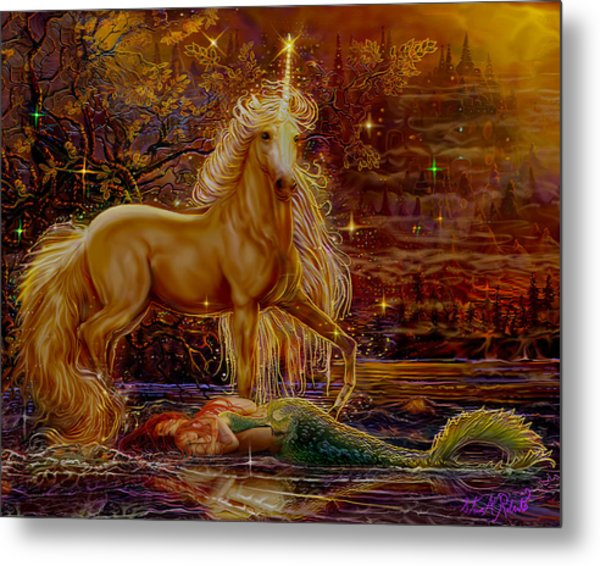 Unicorn And The Mermaid Mother Metal Print