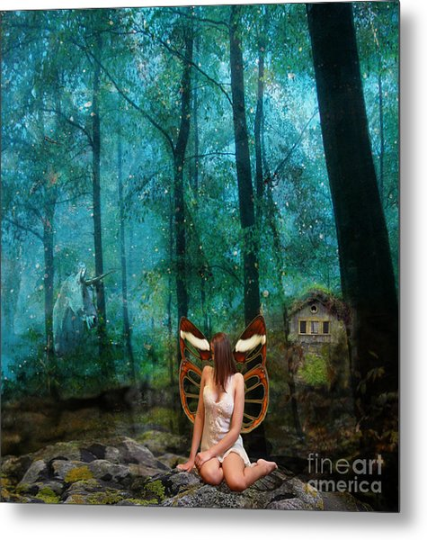 Unicorn In The Forest Metal Print by Patricia Ridlon