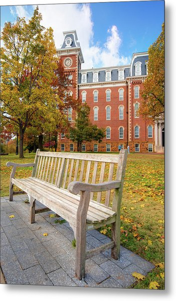University Of Arkansas Campus In Fall - Old Main Building Metal Print