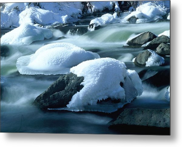 Upper Provo River In Winter Metal Print by Dennis Hammer