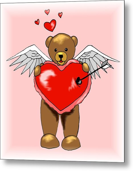 Valentine Bear Metal Print by Scarlett Royal