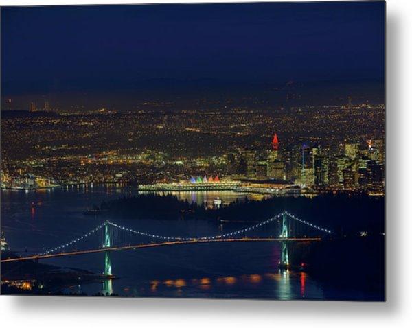 Vancouver Bc Cityscape By Lions Gate Bridge Metal Print