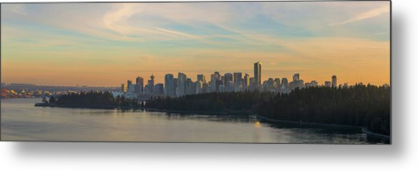 Vancouver Bc Skyline Along Stanley Park At Sunset Metal Print