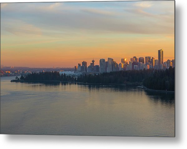 Vancouver Bc Skyline And Stanley Park At Sunset Metal Print