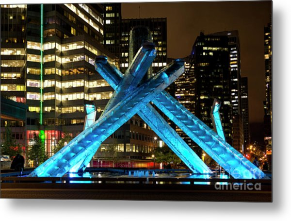 Vancouver Olympic Cauldron At Night Metal Print