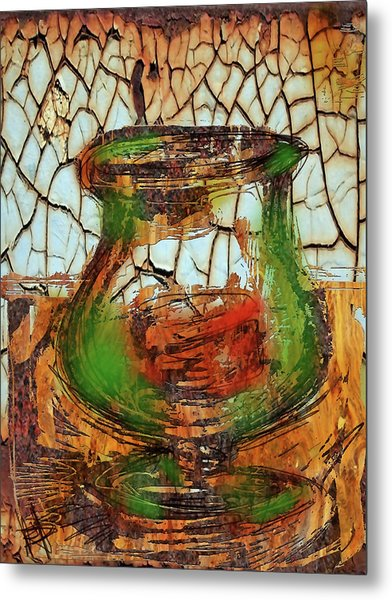 Vase And Candle Metal Print by Russell Pierce