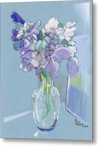 Vase Of Flowers In The Sun Metal Print by Jill Baker