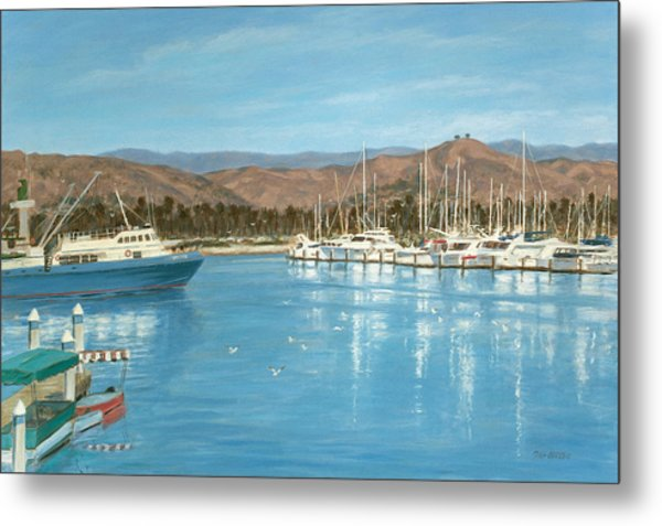 Ventura Harbor And The Two Trees Metal Print by Tina Obrien