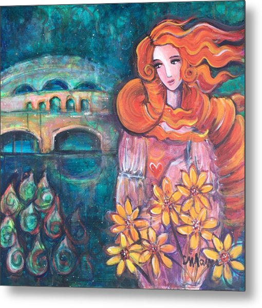 Metal Print featuring the painting Venus And Sunflowers by Laurie Maves ART