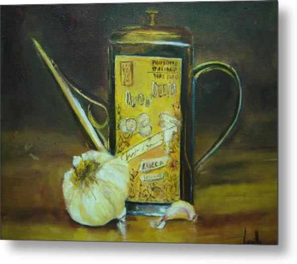 Vibrant Still Life Paintings - Olive Oil With Garlic - Virgilla Art Metal Print by Virgilla Lammons
