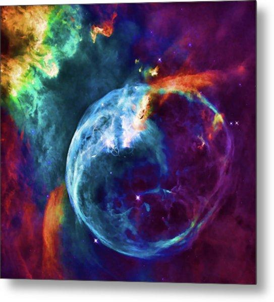 Vibrant Watercolor Of Cosmic Bubble Nebula Metal Print