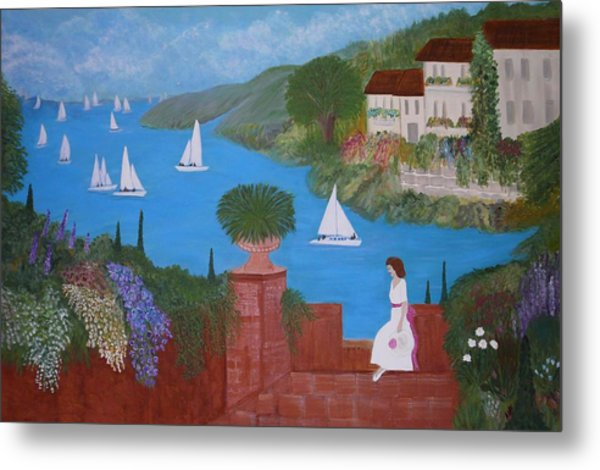View Of Sailboats Metal Print by Anke Wheeler