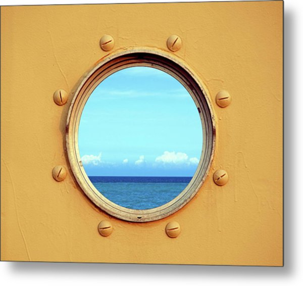 View Of The Ocean Through A Porthole Metal Print
