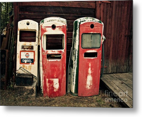 Vintage Gas Pumps Metal Print
