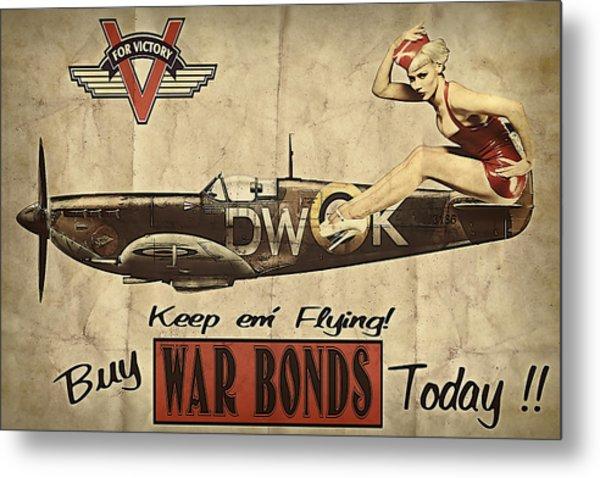 Vintage Pinup Warbond Ad Metal Print