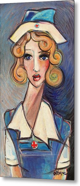 Metal Print featuring the painting Vintage Red Cross Nurse by Laurie Maves ART