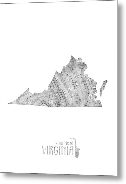 Virginia Map Music Notes Metal Print