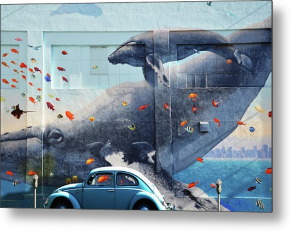 Volkswagen Beetle And Humpback Whale Metal Print by Larry Butterworth