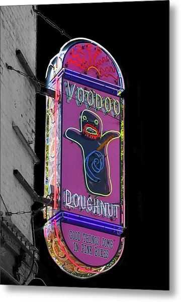 Voodoo Doughnut Neon Sign In Black And White Metal Print