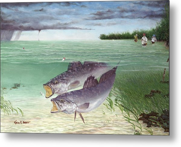 Wade Fishing For Speckled Trout Metal Print