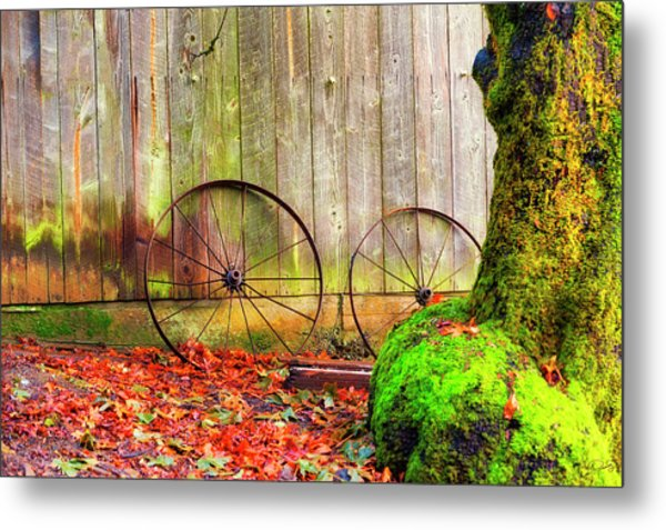Wagon Wheels And Autumn Leaves Metal Print