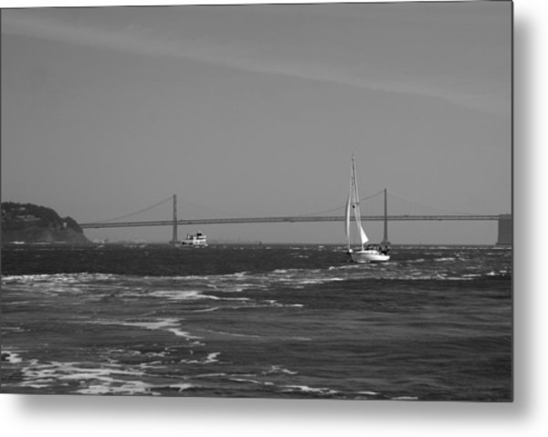 Wake On The Sfb Metal Print by Sonja Anderson