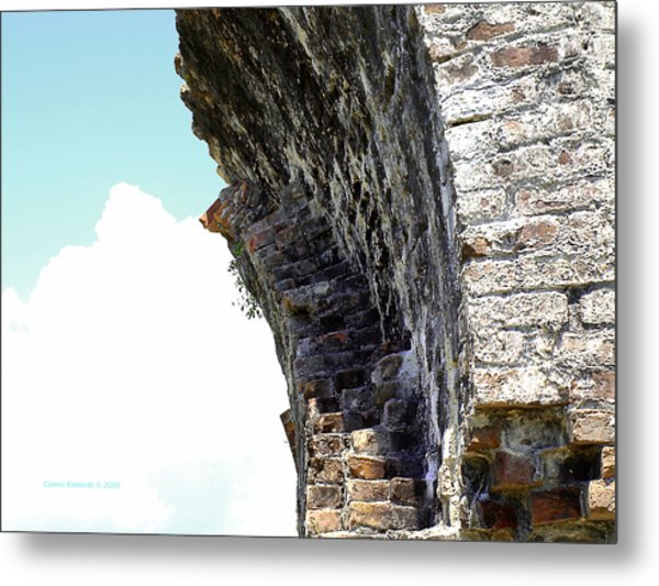 Wall And Blue Sky Metal Print by Connie Diane Richards