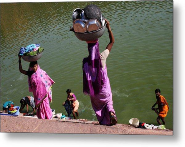 Washing Day Sari Clad Women Ghat Steps India Metal Print by Jane McDougall