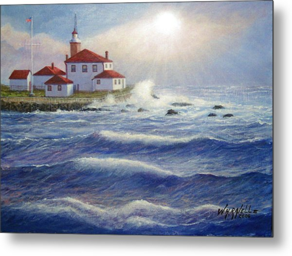 Watch Hill Lighthouseri In Breaking Sun Metal Print by William H RaVell III