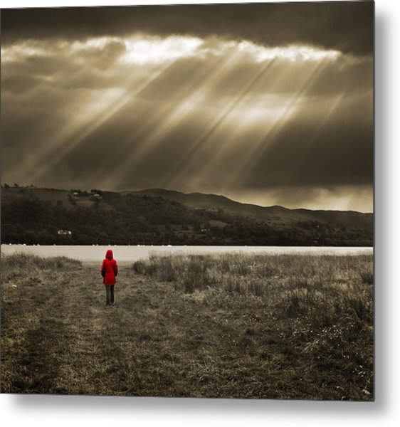 Watching In Red Metal Print