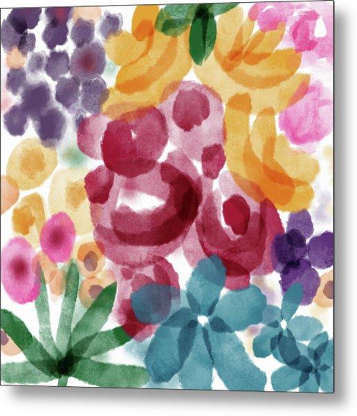 Watercolor Garden Flowers- Art By Linda Woods Metal Print