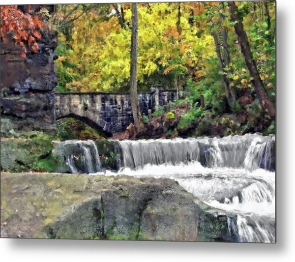 Waterfall At Olmsted Falls - 1 Metal Print