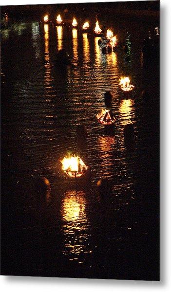 Waterfire Lights Metal Print