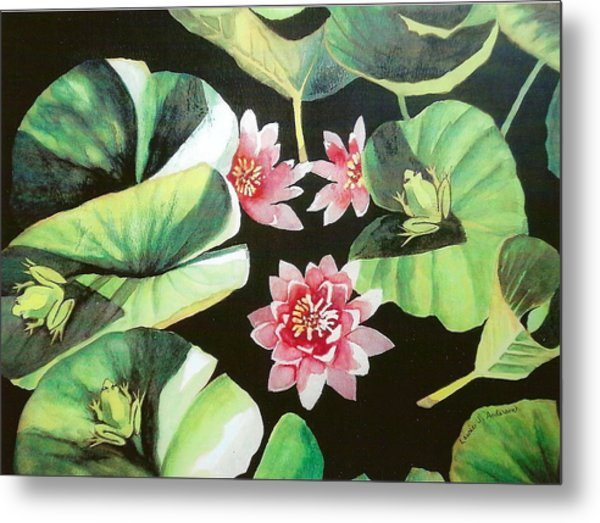 Waterlilies With Frogs Metal Print
