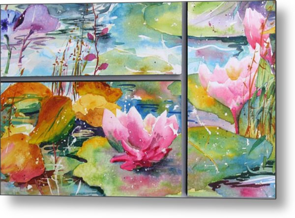 Waterlillies Triptych Metal Print