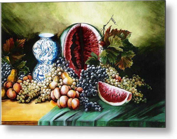 Watermelon With Blue Delft Jar Metal Print