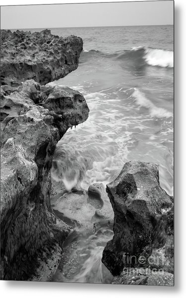 Waves And Coquina Rocks, Jupiter, Florida #39358-bw Metal Print
