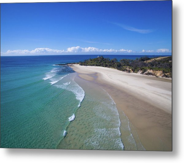 Waves Rolling In To North Point Beach On Moreton Island Metal Print