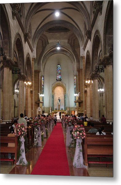 Wedding In Manila Cathedral Metal Print by Mike Holloway