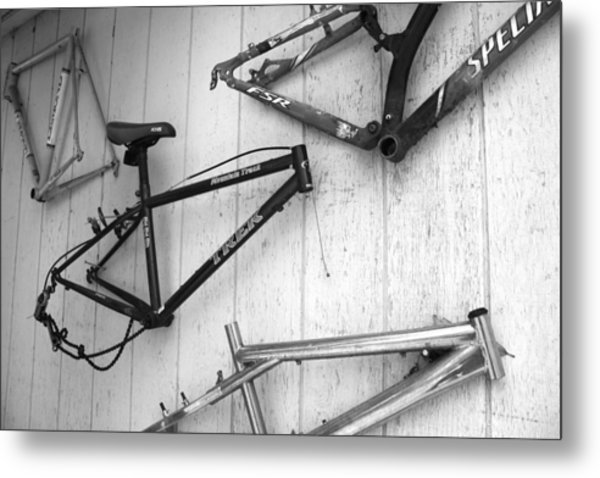 Well Worn Mountain Bike Frames  Metal Print