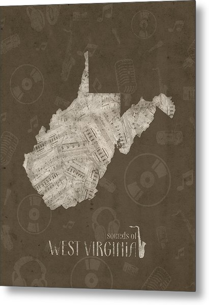 West Virginia Map Muisc Notes 3 Metal Print