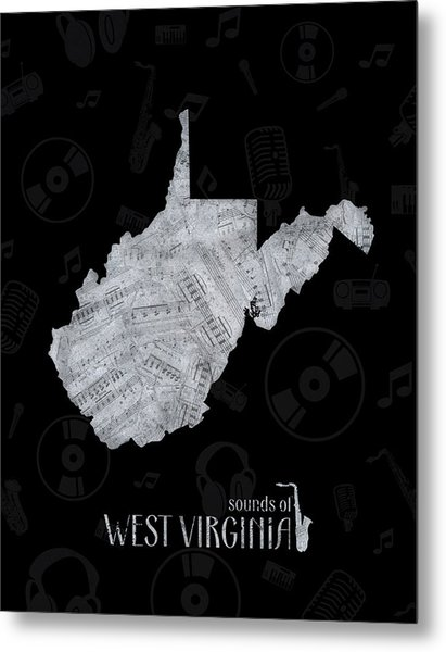 West Virginia Map Music Notes 2 Metal Print