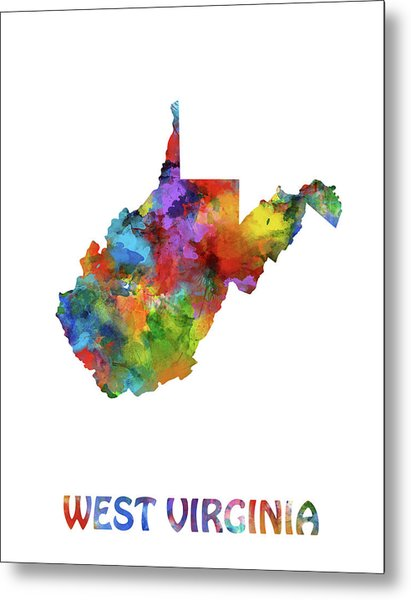 West Virginia Map Watercolor Metal Print