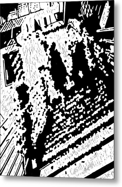 Which Way Up  -- Hand-pulled Linoleum Cut Metal Print by Lynn Evenson