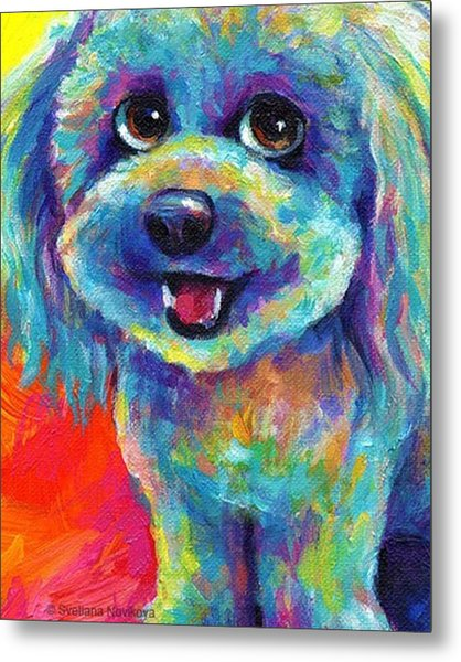 Whimsical Labradoodle Painting By Metal Print