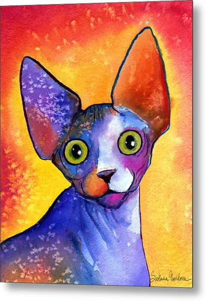 Whimsical Sphynx Cat Painting Metal Print